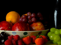 Fruit and Wine Still Life (Andy Sut) Tags: stilllife fruit studio oranges apples cherries strawberries grapes red white wine carafe bowl