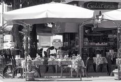 Gelateria (marionvankempen) Tags: atmosphere bar bobbio blackandwhite throughherlens café