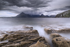 Elgol in a Mood (SkyeWeasel) Tags: scotland skye elgol landscape sea coast rocks longexposure ocean surf mountains cuillins blackcuillins