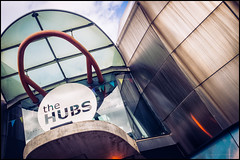 The Hubs building (G. Postlethwaite esq.) Tags: fujix100t paternosterrow sheffield thehubs yorkshire architecture building clouds photoborder sky studentunion
