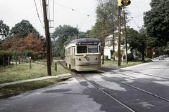 US PA Philadelphia SEPTA-PSTC Red Arrow 9 Brilliner 9-28-1973 (David Pirmann) Tags: pa pennsylvania philadelphia septa redarrow pstc philadelphiasuburbantransco interurban train trolley tram transit railroad