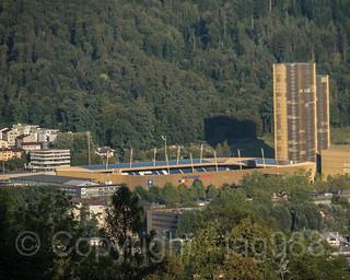 Swissporarena Stadium and Hochzwei Apartment Towers, Lucerne, Canton of Lucerne, Switzerland