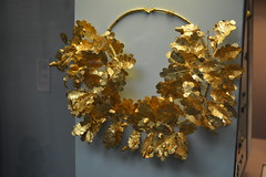 London, England, UK - British Museum - Ancient Greece and Rome - Gold Oak Wreath with Bee and Two Cicadas, 350-300 BC (jrozwado) Tags: europe uk unitedkingdom england london museum britishmuseum history culture anthropology gold wreath oak leaf acorn bee cicada