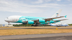 HiFly A380. (spencer_wilmot) Tags: a380 a388 a380800 9hmip fab eglf fabeglf farnborough airshow landing massive whalejet quad doubledecker hifly savethecoralreefs aviation aircraft airplane airliner airport arrival airside apron approach airbus 380 civilaviation commercialaviation adhoc charter huge ils jet jetliner plane passengerjet ramp runway specialcolours speciallivery specialmarkings taxiway widebody super