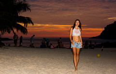 Anastasia at sunset, Ya Nui beach, Phuket island, Thailand          XOKA4104b3s (Phuketian.S) Tags: girl woman sunset beach sea people sexy sand phuket thailand beauty landscape model phuketian pretty charm
