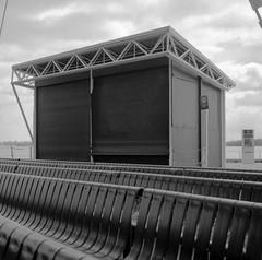(geowelch) Tags: toronto harbourfront bandshell soundbooth lakeshore waterfront structures blackandwhite 120 film 6x6 mediumformat tmax100 hc110 dilutionh rolleicordv epsonperfection4870photo newtopographics