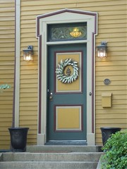 River Forest, IL, Door with Wreath (Mary Warren 11.2+ Million Views) Tags: riverforestil architecture building house residence door lamps stainedglass vase