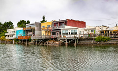 Panorama - Port of Siuslaw in Florence (Barb Henry) Tags: sea coast ocean pacific landscape panorama mos florence colorful buildings docks marina decks port siuslaw