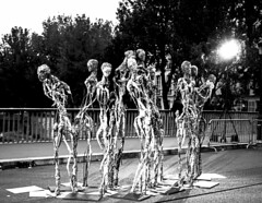 They only come out at night? (roughtimes) Tags: 201710075434copy nuit blanche paris exhibit 2017 birdge night walks black white bnw statue models