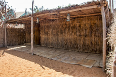 Bait al Wahat, The Oasis House, made of palm fronds, found in oasis areas and inhabited by farmers' families, Heritage Village, Abu Dhabi (Jim 03) Tags: heritage village traditional oasis desert life campfire goats' hair tent falaj irrigation system museum metal pottery weaving spinning camel bait al wahat hassa jim03 jimhoffman jhoffman jim wwwjimahoffmancom wwwflickrcomphotosjhoffman2013