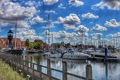 The beautiful Hull Marina, on a sunny day!😊🌞⛵ (LeanneHall3 :-)) Tags: groupenuagesetciel marina hullmarina boats ship spurnlighthouse white black bridge hull kingstonuponhull buildings blue sky clouds fluffyclouds talkativeclouds landscape canon 1300d