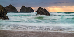 Holywell Gold (Andrew Hocking Photography) Tags: holywell beach bay cornwall golden gold light godrays seascape landscape cartersrocks rocks slowshutter longexposure seaside coast uk sunset storm clouds water rugged waves surf newquay