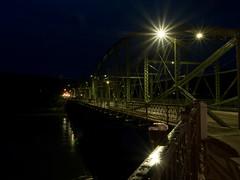 P7301030 (Copy) (pandjt) Tags: binghamtonny binghamton ny travelogue nightphotography ironbridge bridge lenticulartrussbridge trussbridge pedestrianbridge susquehannariver southwashingtonstreetbridge berlinironbridgeco historicbridge parabolicbridge