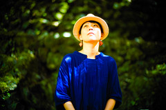 Lady in Blue (moaan) Tags: kyoto japan jp people woman clothes dress blue hat hatty lookingup light sunlight inthedappledsunlight forest woods kibune focusonforeground selectivefocus depthoffield bokeh bokehphotography leica leicaphotography leicamp type240 noctilux 50mm f10 leicanoctilux50mmf10 utata 2018