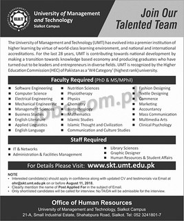Jobs In UMT 11 August 2018 for IT, Admin, Multimedia, HR & Teaching Faculty