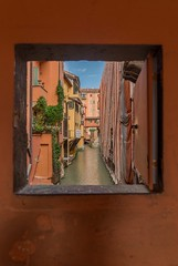 Window to one of the few remaining uncovered sections of canals in Bologna (JLSideri) Tags: city window canal landscape romagna emilia bologna europe italy summer travel