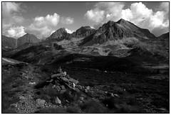 . . . que la Montagne est belle (nickylechatreux) Tags: monochrome montagne nature nb nuages roches cairn paysage pierre bw été écologie environnement chemin