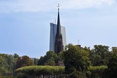 Dreikönigskirche with ECB in Background (Pá-ric) Tags: frankfurt frankfurtammain frankfurtsachsenhausen cityoffrankfurt inthecity river main boat lovelycity oldagainstnew somewhereinfrankfurt sky ezb church churchsteeple kirche