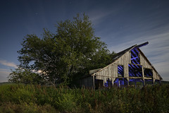 Illuminated Barn (Notley Hawkins) Tags: riverbottoms rural boonecountymissouri missouri notley notleyhawkins 10thavenue httpwwwnotleyhawkinscom missouriphotography notleyhawkinsphotography lightpainting nocturne 光绘 光繪 lichtmalerei pinturadeluz ライトペインティング प्रकाशपेंटिंग ציוראור اللوحةالضوء barn farm wood abandoned sky clouds longexposure summer may 2018 weeds tree bluelight