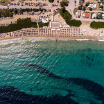 Drone photo of the sea, beach and the camping site Camping Paliouri thumbnail
