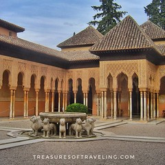 The #PatioOfTheLions (#PatioDeLosLeones) is probably the most famous place of the Alhambra. It has that name because of the twelve lions which are part of the fountain in the middle of the patio. It's a palace and fortress complex located in Granada, Spai (TreasuresOfTraveling) Tags: travelgram travelphotography bestplacestogo patiodelosleones alhambra traveltheworld guyswhotravel granada españa wanderlust gaytraveler españaviaje albaicín travelblogger globetrotter worldtraveler europe andalusia treasuresoftraveling theglobewanderer spain worldtravel travelspain travelphotos patioofthelions sierranevadamountains passportstamps tourtheplanet garden islamicart