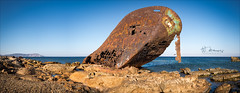 The wreck (W.MAURER foto) Tags: karpathos greece grill dodekanes wreck gemar1 schiffswrack wrack rost meer sea griechenland travel travelphotography fuji fujix100f panorama