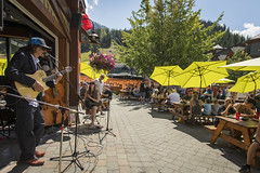 Live entertainment for the Bulleit Bourbon Canadian National BBQ Championships at Dusty's Bar & Grill in Whistler's Creekside (GoWhistler) Tags: bc britishcolumbia canada creekside dustys whistler apres dining entertainment events food livemusic localevents music patio people summer sunny village
