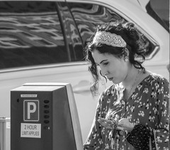 2 Hour Limit (clarkcg photography) Tags: meter parkingmeter 2hours money woman blackandwhite blackwhite bw portrait streetphotography