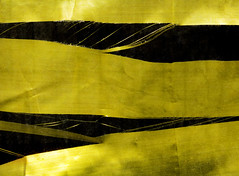 The Ripped Blind (Steve Taylor (Photography)) Tags: ripped torn shtedded split gold black blind strands monocolour monocolor material newzealand nz southisland canterbury christchurch cbd city texture contrast
