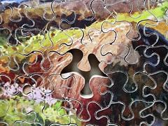 Springtime Glories - missing piece (pefkosmad) Tags: jigsaw puzzle pastime hobby leisure plywood wood wooden vintage missingpieces onepiecemissing old gloucester glevumgames springtimeglories scene art painting ernestwilliamhaslehurst