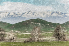 Nature's Layers (p) (davidseibold) Tags: america barbedwirefence california cloud fence grass jfflickr mountain painting photosbydavid plant postedonflickr postedong powerline road sky snow tree tularecounty unitedstates usa