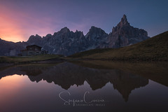 Reflective awaking (Stephen Hunt61) Tags: sunrise reflections lake pond alpine italy mountains water edge landscape landscapes landmark laghetto alpino sanmartino pale nature passorolle rocks meadow outdoor montagna dolomites alps stefanocaccia