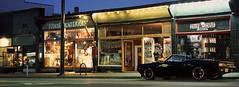 Folkart Interiors (Orion Alexis) Tags: film 35mm analog widescreen panorama cinematic slide chrome fujichrome fujifilm provia 100f 100 f tx1 xpan camaro chevy vancouver night evening street urban streetscape