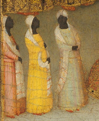 Follower of Giotto (Neapolitan School) Adoration of the Magi with Three Black Women Italy (1343) Tempera and Ground Gold on Wood; 66.4 x 46.7 cm The Metropolitan Museum of Art, Robert Lehman Collection (medievalpoc) Tags: art history medieval medievalpoc painting oil wood gilding gilded italian 1300s adoration