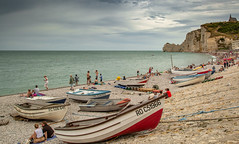 Étretat Beack - 12-08-2018 (kevaruka) Tags: etretat france francais normandy beach beaches bw blackwhite colour colours seaside sea warer europe comp composition boating boats cliffs cliff flickr thephotographyblog frontpage explore holiday englishchannel canon canoneos5dmk3 canon5dmk3 canonef24105f4l 5d3 5diii 5d 5dmk3 blue green photography landscape ultrawideangle uwa wideangle summer august 2018 chalk arch natural nature geology