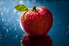 Freshness (Sreten80) Tags: apple drops water reflection nature fruit fresh refreshing red leaf green simple bokeh
