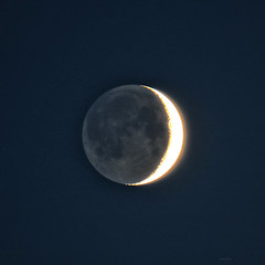 Light in the shadow (Robyn Hooz) Tags: luna crescent cinerea shadow falce moon satellite earth terra verne padova zoom 600mm sky planet