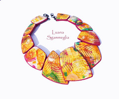 Polymer Clay hand painted necklace (Luana Sgammeglia) Tags: polymerclay necklace handpainted colorful summer orange yellow green purple jewelry women premo fimo sculpey hand sculpted colgante arcillapolimerica sicily italy