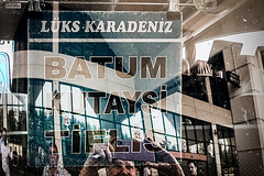 Destinations (Melissa Maples) Tags: antalya turkey türkiye asia 土耳其 apple iphone iphonex cameraphone spring me melissa maples selfportrait woman shorthair blonde busstation otogar türkçe text sign batum tiflis kutaysi lükskaradeniz glass window photographer reflection coach bus