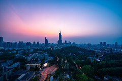 Skyline of Nanjing City at Sunset Seen From Rooftop of Heping Mansion (asusmt) Tags: skyline sunset city cityscape skyscraper tall building architecture nanjing urban spring summer transportation aerial longexposure twilight dusk landscape nikon nikond800 tamronsp1530f28