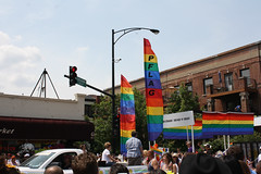 The Flags Of PFLAG (Flint Foto Factory) Tags: chicago illinois urban city summer june 2015 north uptown broadway belleplain gns food market annual lgbtq lgbt lesbian gay bisexual trans queer pride parade street scenes pflag flags parents friends gays lesbians rainbow belleplaine buenapark lovewins