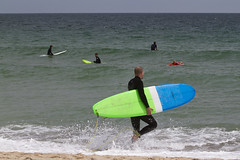 Heading Out (brucetopher) Tags: surfer vacation holiday beach sea ocean surf wave waves surfing zen observing readingthewater watching watch wetsuit dad father daughter sand surfboard coast coastal seacoast green blue breakers break lineup shorebreak