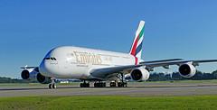 Airbus A380-861.  Christchurch NZ (Bernard Spragg) Tags: emiratesa380861airbus aviation aircraft travel flight fourengines lumix planespotting stuffonrunways lumixfz1000
