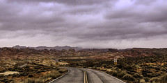 024693763618-103-Rainy Road in the Valley of Fire-1 (Jim There's things half in shadow and in light) Tags: yellow stormy clouds cloudy sky landscape valleyoffire mojavedesert usaamerica southwest road