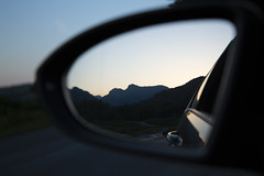 ... (gavin.hoskins) Tags: lakedistrict lakeland cumbria landscape canon canoneos5dmarkiii 5dmarkiii outdoors outside langdalepikes langdales mirror mountains view silhouette car carmirror evening bluehour