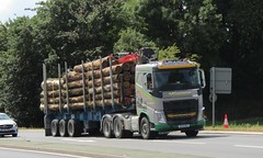 MG Harvesting DX16 MGV passing Gledrid services (Joshhowells27) Tags: lorry volvo fh timber wood logs mgharvesting bala