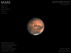 Mars - August 14, 2018 (astroaaron) Tags: mars planet planetary dust storm solar system astronomy astrophotography amateur backyard telescope newtonian reflector zwo asi290mm irrgb mono