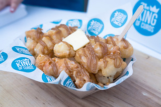 """King of Curds' Hong Kong Style French """"Toast"""" Curds   deep fried cheese curds topped with peanut butter, condensed milk, butter"""