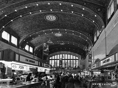 West Side Market, Cleveland (mswan777) Tags: mobile iphone iphoneography apple white black monochrome ohio cleveland shop people retail travel urban westside history indoor cityscape city vegetables meat market