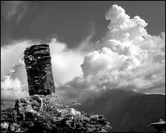 Heading to the Heaven (Guido Colombini) Tags: bw landscape ruins bianconero alps mountains sky vallecamonica vezzadoglio clouds